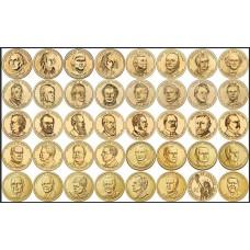 Набор памятных монет, 1 доллар США. Монетный двор Денвер. Из банковского ролла (39 монет)
