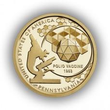 Вакцина против полиомиелита, Пенсильвания. Американские инновации  1 доллар 2019 США. (Двор P) Из банковского мешка. UNC