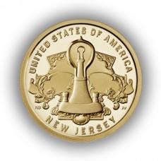 Лампа накаливания Томаса Эдисона. Нью-Джерси 1 доллар 2019 США. (Двор D) Из банковского мешка. UNC