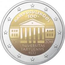 100-летие перевода обучения на эстонский язык Тартуского университета. 2 евро 2019 года.  Эстония (UNC)