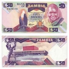 Банкнота 50 квача 1980-1988. Замбия. Pick 28а. Из банковской пачки (UNC)