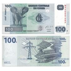 Банкнота 100 франков 2013 год. Конго. Pick 98b. Из банковской пачки (UNC)