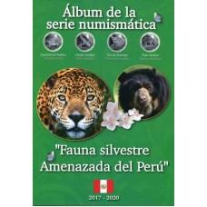 Набор памятных монет 1 соль Перу 2017-2019 г.г. в альбоме, серия «Вымирающая дикая природа Перу» (10 монет)