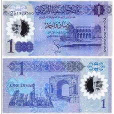 Полимерная банкнота 1 динар 2019 года.  Ливия. Из банковской пачки (UNC)