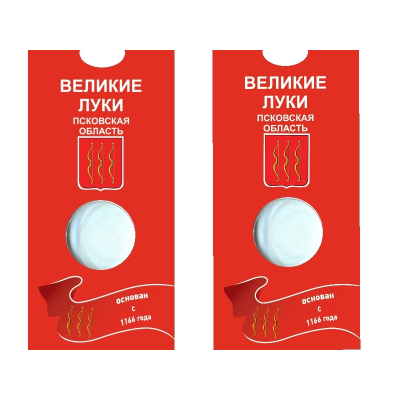 Блистер под монету России 10 рублей 2016 г., Великие Луки (Псковская область)