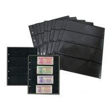 Лист  на чёрной основе для марок и банкнот 200 мм * 250 мм . На 4 ячейки 180*56 мм. Формат OPTIMA (двухсторонний)