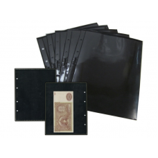 Лист  на чёрной основе для марок и банкнот 200 мм * 250 мм . На 1 ячейку 180*248 мм. Формат OPTIMA (двухсторонний)