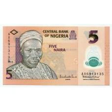 Полимерная банкнота 5 найра 2013 года. Нигерия. KM# 38. UNC