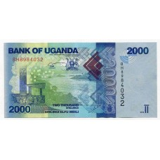 Банкнота 2000 шиллингов 2015 года. Уганда. UNC