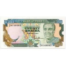 Банкнота 20 квача 1989 года. Замбия. UNC