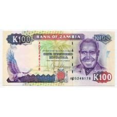 Банкнота 100 квача 1989 года. Замбия. UNC