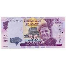 Банкнота 20 квач 2016 года. Малави. UNC