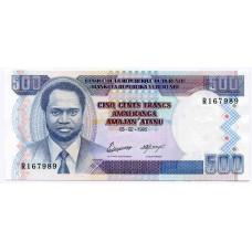 Банкнота 500 франков 1995 года. Бурунди. KM# 37А. UNC