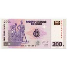 Банкнота 200 франков 2013 год. ДР Конго. Из банковской пачки. UNC