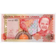 Банкнота 5 даласи 2013 года. Гамбия. UNC