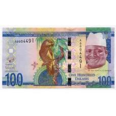 Банкнота 100 даласи 2015 года. Гамбия. UNC
