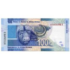 Банкнота 100 рэндов 2012 года ЮАР. Из банковской пачки