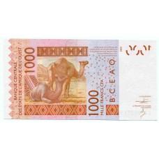 Банкнота 1000 франков 2003 года  Сенегал. Из банковской пачки