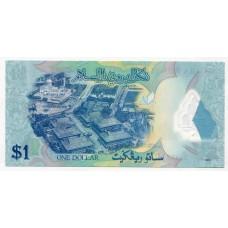 Полимерная банкнота 1 доллар 2013 года Бруней. Из банковской пачки