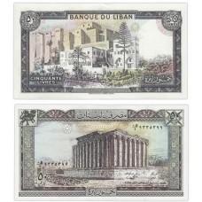 Банкнота 50 ливров 1988 года. Ливан UNC