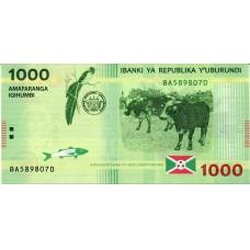 Банкнота 1000 франков 2015 года. Бурунди (UNC)