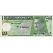 Полимерная банкнота 1 кетсаль 2008 года. Гватемала (UNC)