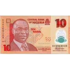 Полимерная банкнота 10 найра 2017 года. Нигерия (UNC)