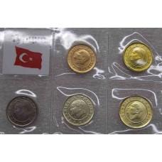 Набор монет Турции.  (5 монет)