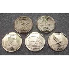 Набор монет 1 соль Фауна Перу, серия Красная Книга. Из банковского ролла. 5 монет (UNC)