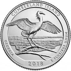 Национальное побережье острова Кумберленд. 25 центов 2018 года США. №44. (монетный двор Денвер) (UNC)