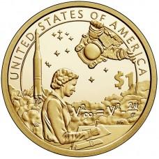 Космические достижения. Сакагавея (Коренные американцы).  1 Доллар  2019 года.  (Двор D)