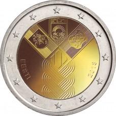 100-летие независимости прибалтийских государств. 2 евро 2018 года.  Эстония (UNC)