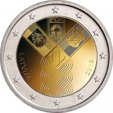 100-летие независимости прибалтийских государств. 2 евро 2018 года.  Латвия (UNC)