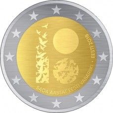 100 лет Эстонской Республике. 2 евро 2018 года.  Эстония (UNC)