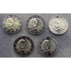 100 лет со дня рождения 5-го федерального канцлера ФРГ Гельмута Шмидта. 2 евро 2018 года. Германия. 5 монет  (UNC)